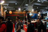 HANNOVER - MARCH 10: stand of Thermaltake on March 10, 2012 at CEBIT computer expo, Hannover, Germany. CeBIT is the world's largest computer expo. — Stock Photo