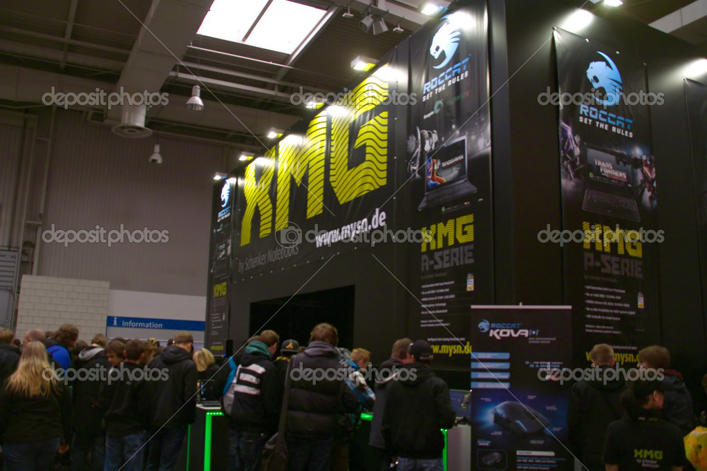 HANNOVER, GERMANY - MARCH 5: stand of the XMG on March 5, 2011 in CEBIT computer expo, Hannover, Germany. CeBIT is the world's largest computer expo. — Lizenzfreies Foto #8227394