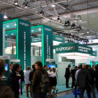 HANNOVER, GERMANY - MARCH 10, 2012: stand of the Kaspersky Lab in CEBIT computer expo, Hannover, Germany. CeBIT is the world's largest computer expo. Kaspersky Lab is a Russian computer security - Stock Photo