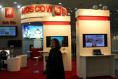 HANNOVER, GERMANY - MARCH 10: stand of the Moscow city on March 10, 2012 in CEBIT computer expo, Hannover, Germany. CeBIT is the world's largest computer expo — Foto Stock