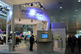 HANNOVER - MARCH 10: stand of Euromicron on March 10, 2012 at CEBIT computer expo, Hannover, Germany. CeBIT is the world's largest computer expo. — Stock fotografie
