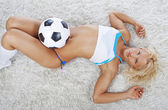 Image of woman with ball — Stock Photo