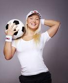 球的女人的形象 — 图库照片