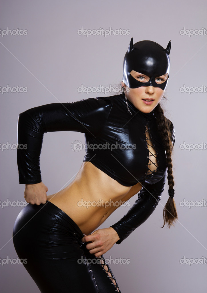 Image of woman in catwoman suit — Stock Photo #10488341