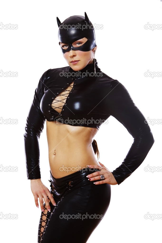 Image of woman in catwoman suit  Stock Photo #10488347