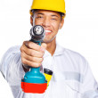 Image of handsome worker with tools — Stock Photo #8540658