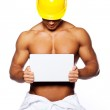 Image of sexy male holding blank sign — Stock Photo