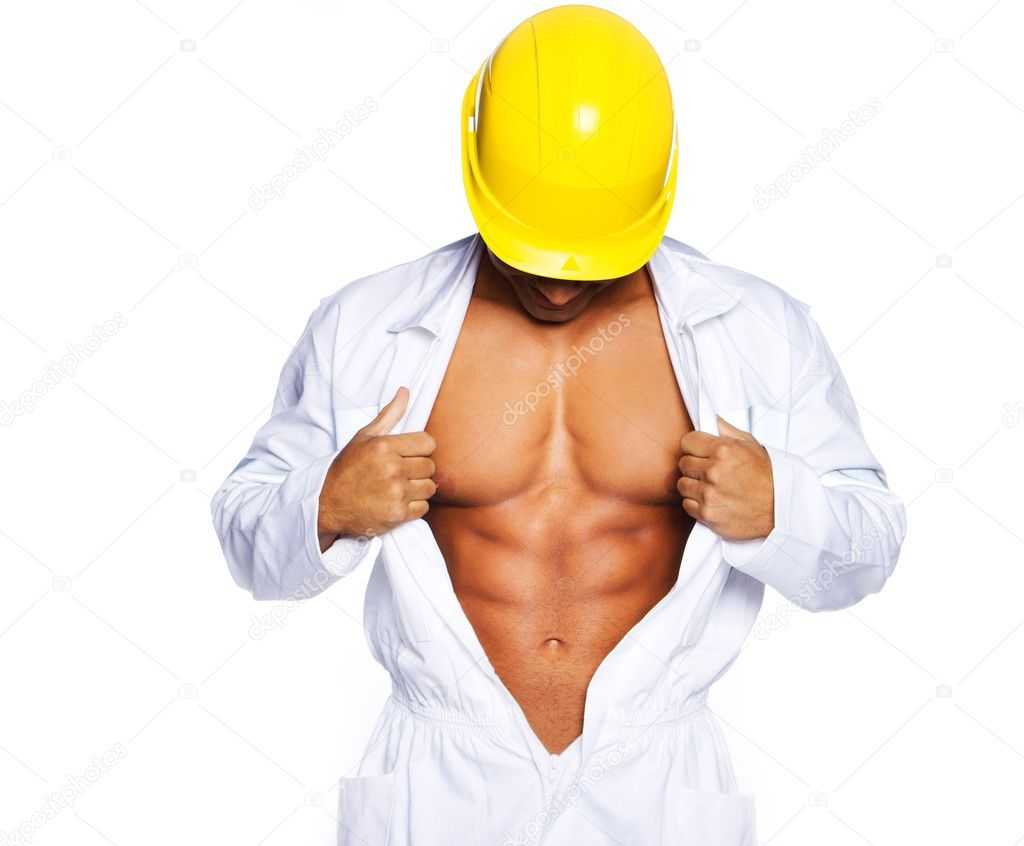 Image of young handsome builder posing, isolated on white — Stock Photo #8540660
