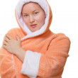 Image of woman in bathrobe — Stock Photo
