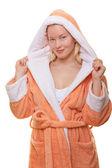 Image of woman in bathrobe — Stock Photo
