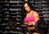 Athletic Woman with Dumbbells — Stock Photo