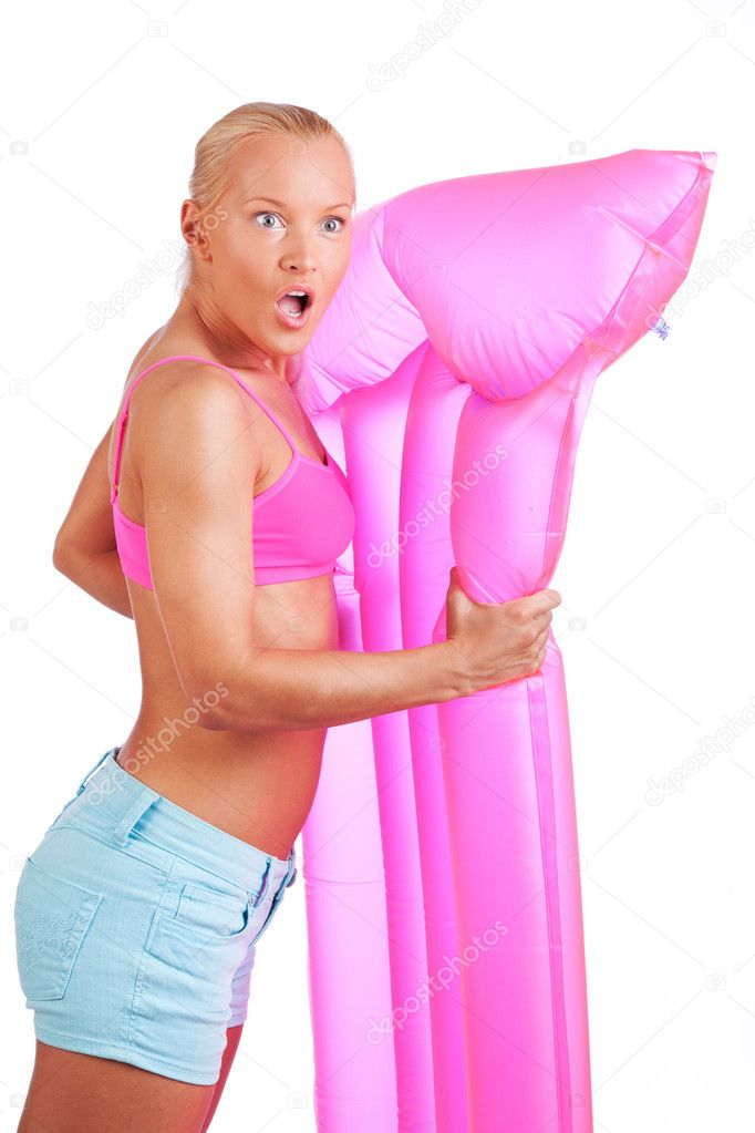 Beautiful Woman with pink mattress — Stock Photo #9572167
