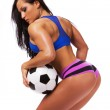 Ball in hands of sexy girl — Stock Photo