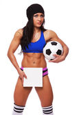 Cute sexy athlete on white background — Stock Photo