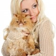 Royalty-Free Stock Photo: Beautiful young woman with Persian cat