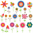 Stock Vector: Retro flowers