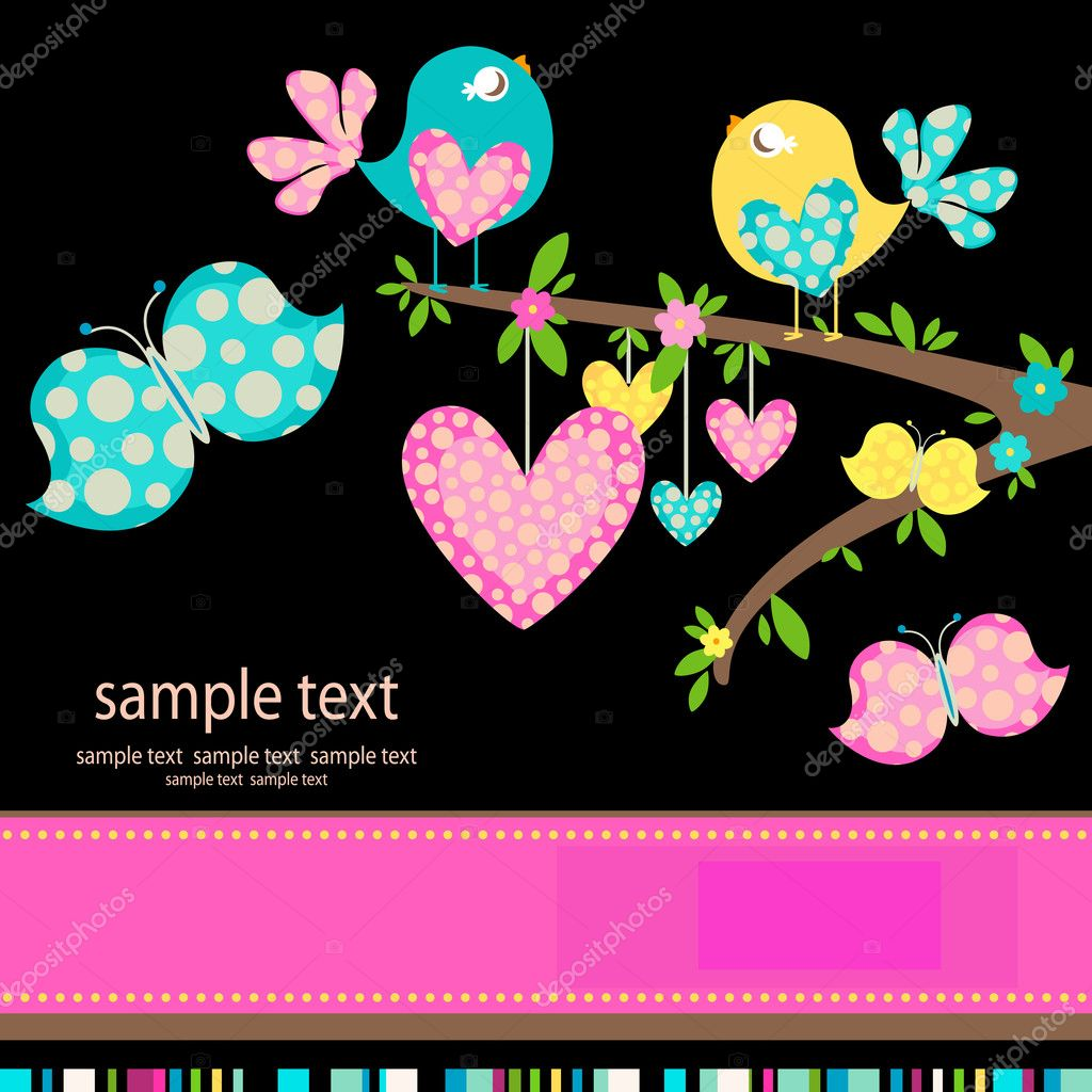 Spring birds in love — Stock Vector #9135944