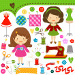 Stock Vector: Sewing girls