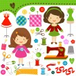 Sewing girls — Stock Vector