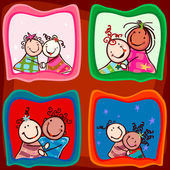 Couples kids smiling — Stock Vector