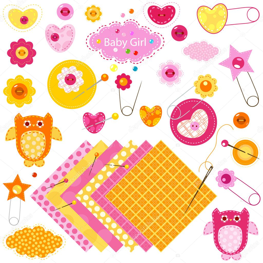 Baby girl elements set — Stock Vector #9218608