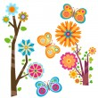 Blooming tree and butterflies — Stock Vector #9410395