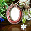 Still life with antique ornate frame. - Stock Photo