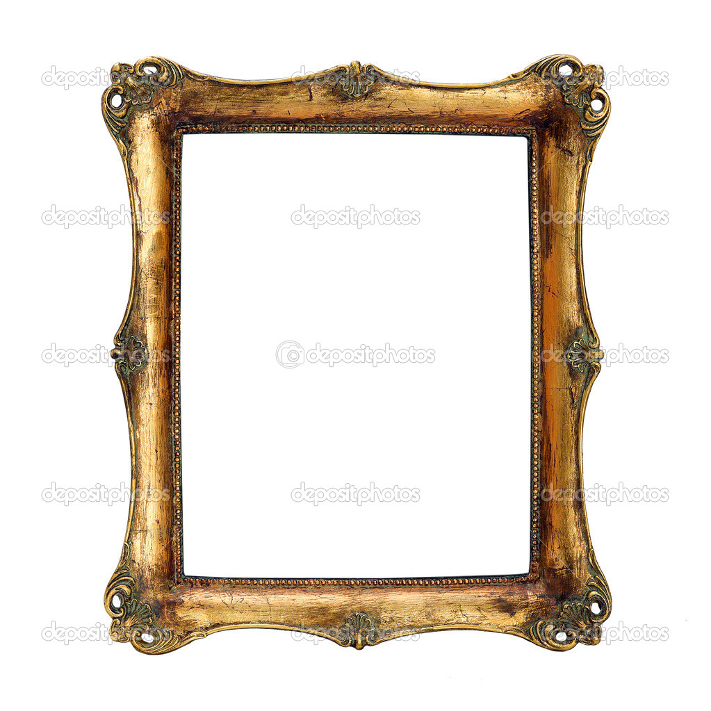 Antique frame with woman's portrait . Isolated image. — Photo #9209439