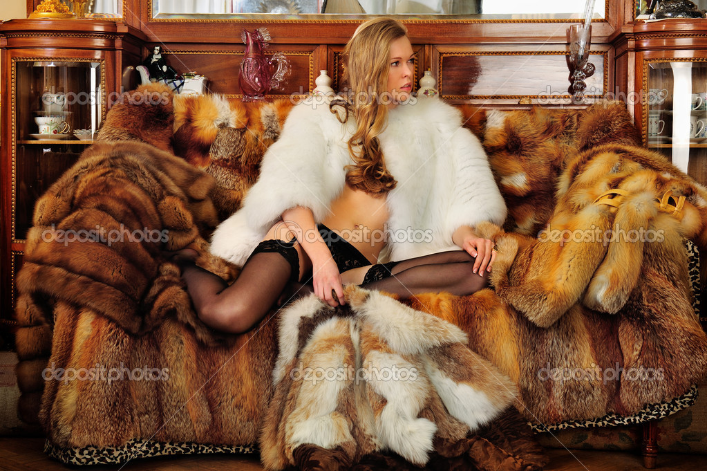 naked women in fur coats