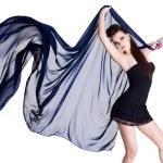 Stylish woman with dark blue chiffon — Stock Photo