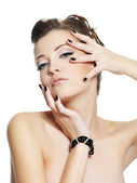 Sensuality glamour young woman with black nails — Foto Stock