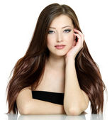 Woman with long brown hair — Stock Photo