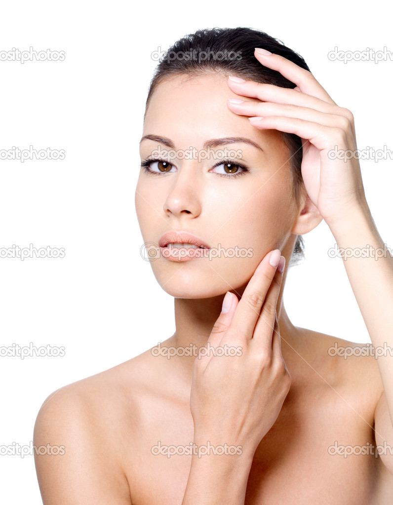 Portrait of sensual beautiful young woman strokin her face - white background — Stock Photo #9127974