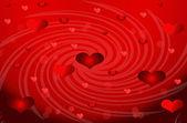 Abstracción en forma de corazón sobre un fondo rojo — Foto de Stock