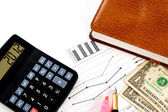 Account statements, credit calculations, calculators, pen and do — Stock Photo