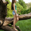 Pretty girl leaning against a tree in denim shorts and a t-shirt — Stock Photo