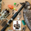 Stock Photo: Fishing rod, fish, tackle and Photography