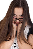 Portrait of a teenage girl hurt in glasses — Stock Photo