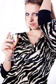 Beautiful girl with champagne — Stock Photo