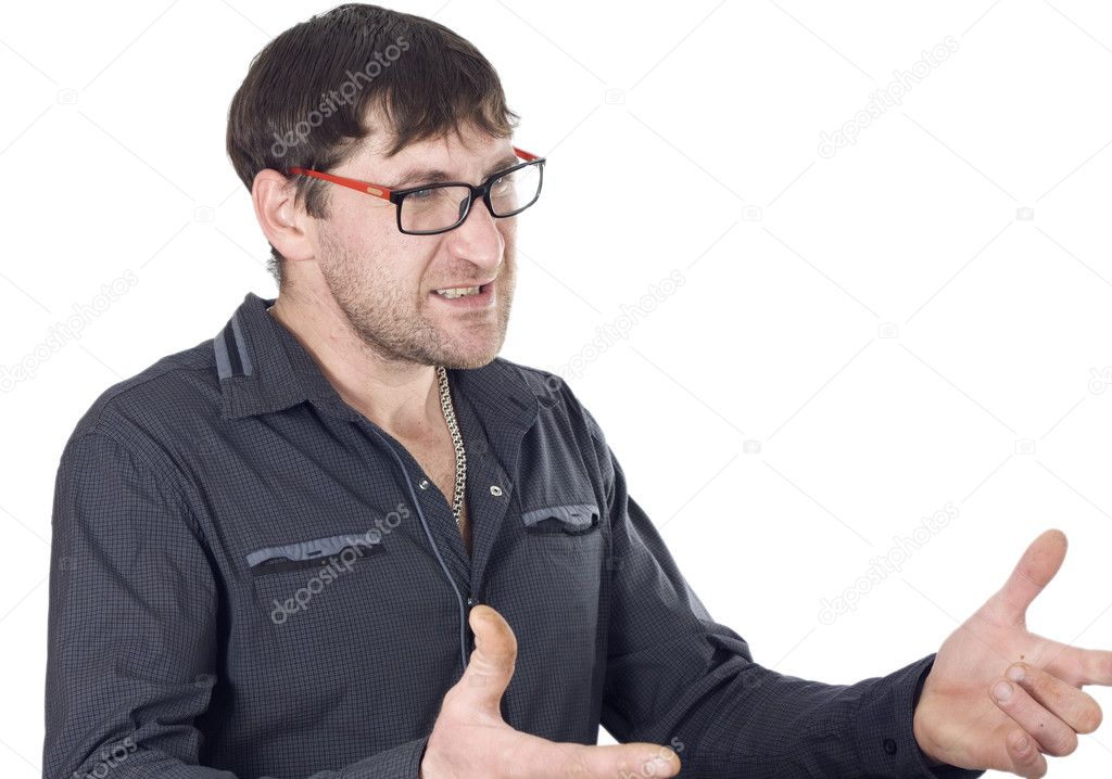 Man gestures with his hands perturbed situation — Stock Photo #8316990