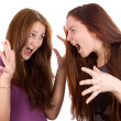 Girls are angry, argue and shout at each other — Stock Photo