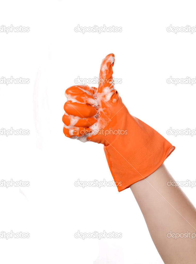Hand in glove with orange foam shows a ok — Stock Photo #8841702