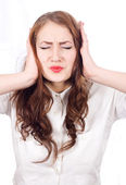 Frustrated Girl closes his ears — Stock Photo