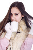 Girl with a cup of hot coffee or tea — Stock Photo