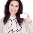 Woman with business card — Stock Photo #9424068