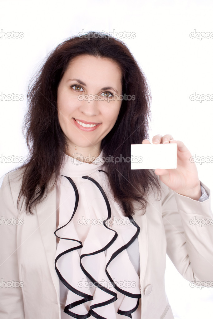 Self-confident business woman with business card  Stock Photo #9424068