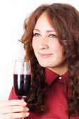 Beautiful female lips drinking wine — Stock Photo