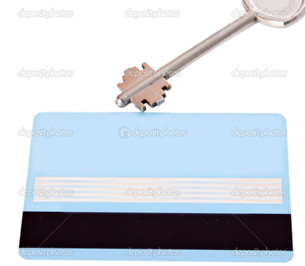 Bank card and key isolated on white background — Stock Photo #9974354