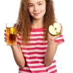 Girl with apple juice — Stock Photo