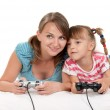 Happy family playing a video game — Stock Photo